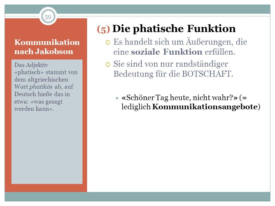 Kommunikation nach Jakobson Das Adjektiv «phatisch» stammt von dem altgriechischen Wort phatikós ab, auf Deutsch hieße das in etwa: «was gesagt werden