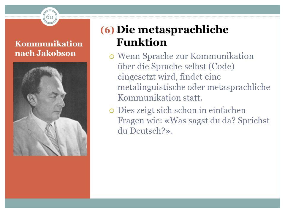 Kommunikation nach Jakobson (6) Die metasprachliche Funktion Wenn Sprache zur Kommunikation über die Sprache selbst (Code) eingesetzt wird, findet ein