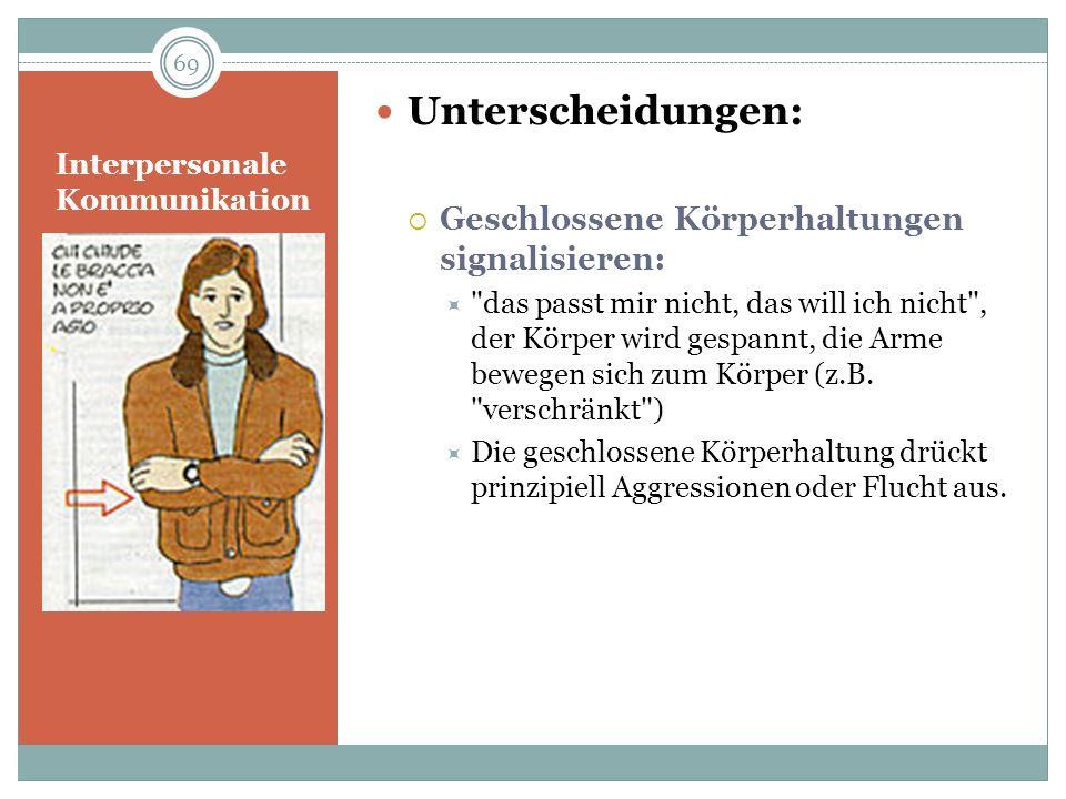 Interpersonale Kommunikation Unterscheidungen: Geschlossene Körperhaltungen signalisieren: