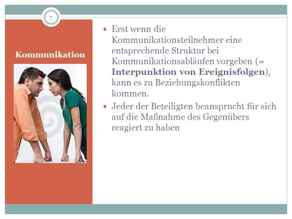 Kommunikation Erst wenn die Kommunikationsteilnehmer eine entsprechende Struktur bei Kommunikationsabläufen vorgeben (= Interpunktion von Ereignisfolg
