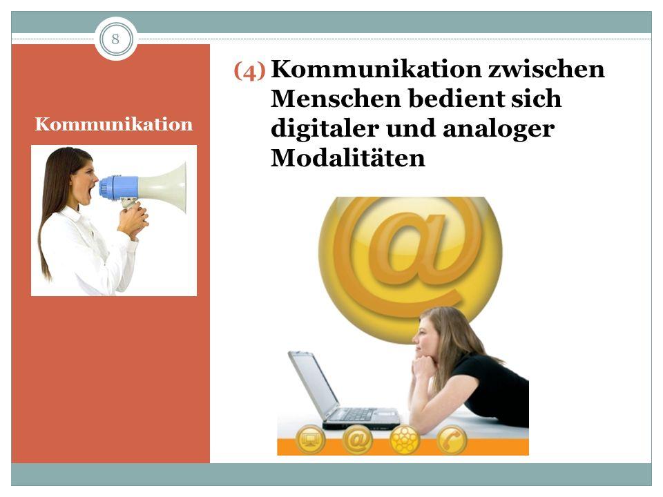 Kommunikation (5) Kommunikation kann auf symmetrischen und komplementären Beziehungen beruhen symmetrische Beziehungen: zeichnen sich durch Streben nach Gleichheit und Verminderungen von Unterschieden zwischen den Partnern aus (z.B.: zwei Pflegende, die ihre Tätigkeit in gleicher Qualität ausüben wollen) komplementäre Interaktion: basiert auf sich gegenseitig ergänzende Unterschiedlichkeiten (z.B.: Interaktion zwischen Arzt u.