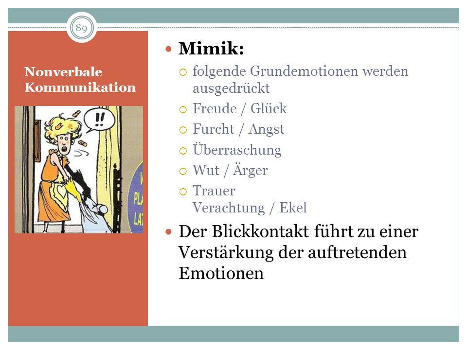Nonverbale Kommunikation Mimik: folgende Grundemotionen werden ausgedrückt Freude / Glück Furcht / Angst Überraschung Wut / Ärger Trauer Verachtung /