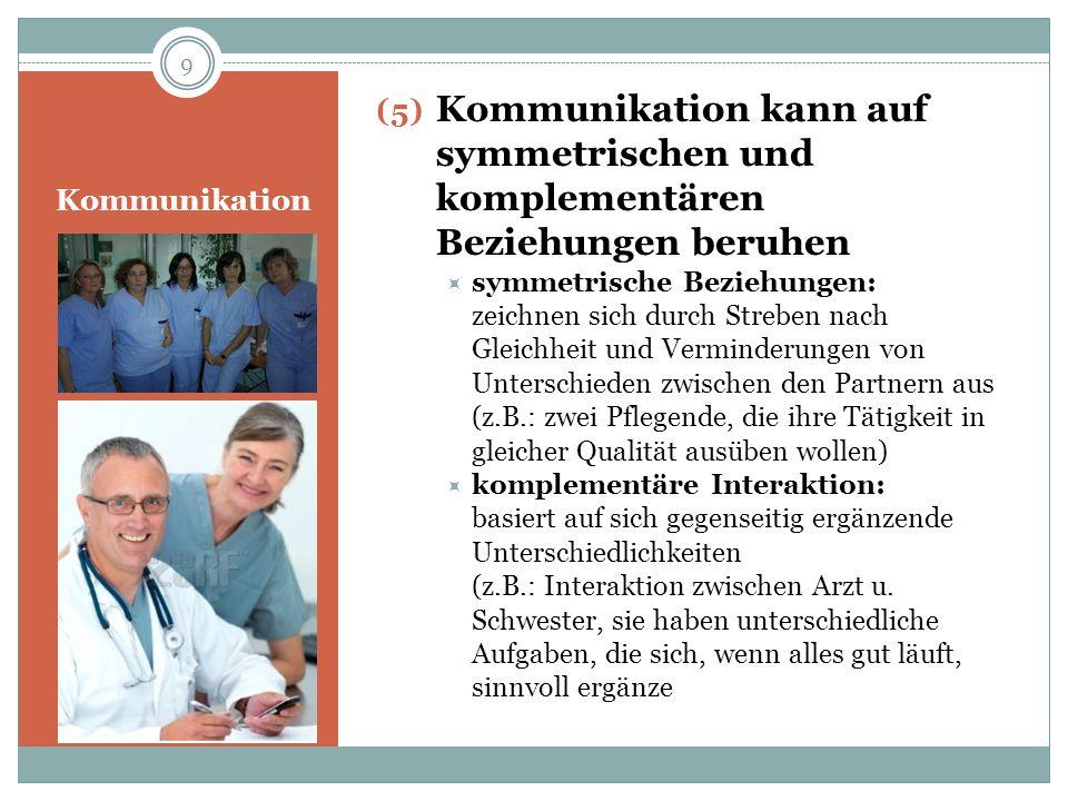 Kommunikation (5) Kommunikation kann auf symmetrischen und komplementären Beziehungen beruhen symmetrische Beziehungen: zeichnen sich durch Streben na