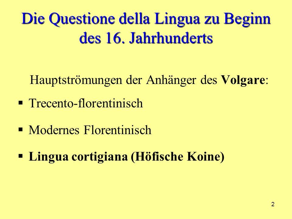 23 Gian Giorgio Trissino 1478/1550 Daher: das Florentinische kann keine Modellhaftigkeit für die gemeinsame italienische Sprache liefern