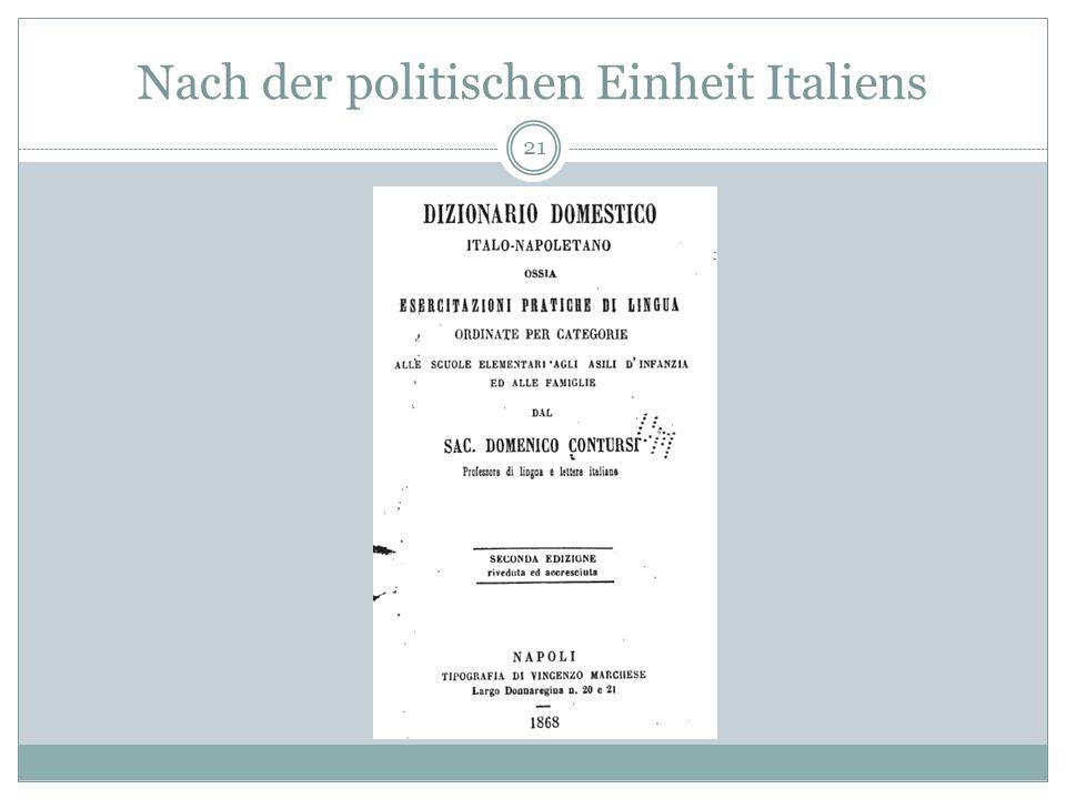 Nach der politischen Einheit Italiens 21