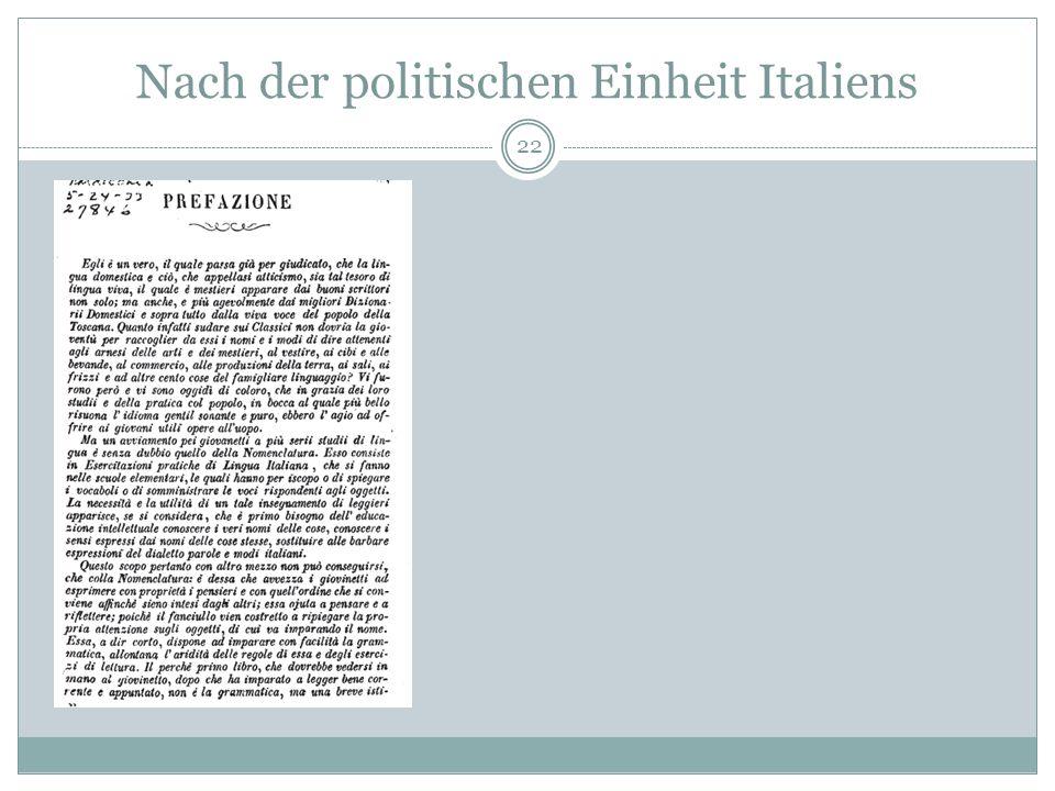 Nach der politischen Einheit Italiens 22
