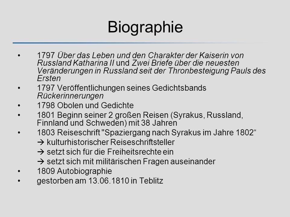 Biographie 1797 Über das Leben und den Charakter der Kaiserin von Russland Katharina II und Zwei Briefe über die neuesten Veränderungen in Russland se