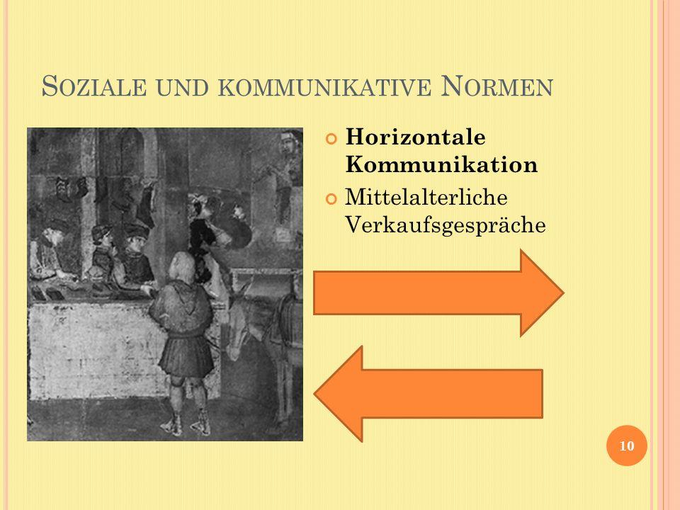 S OZIALE UND KOMMUNIKATIVE N ORMEN 10 Horizontale Kommunikation Mittelalterliche Verkaufsgespräche