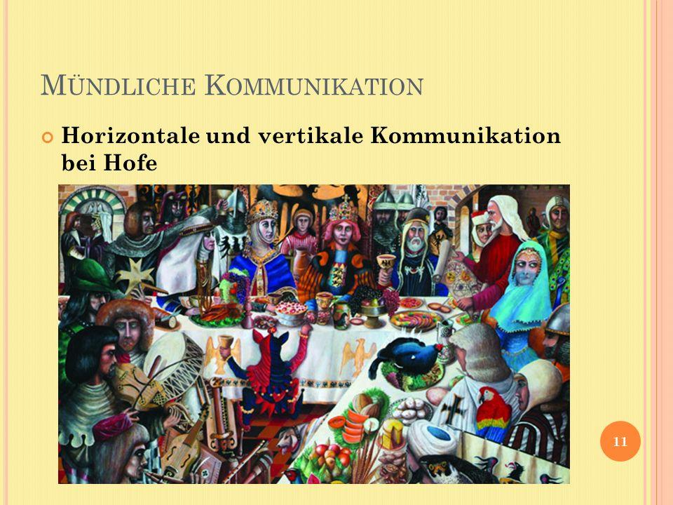 M ÜNDLICHE K OMMUNIKATION Horizontale und vertikale Kommunikation bei Hofe 11