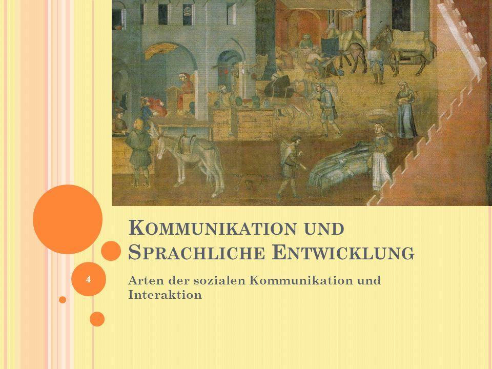 K OMMUNIKATION UND S PRACHLICHE E NTWICKLUNG Arten der sozialen Kommunikation und Interaktion 4