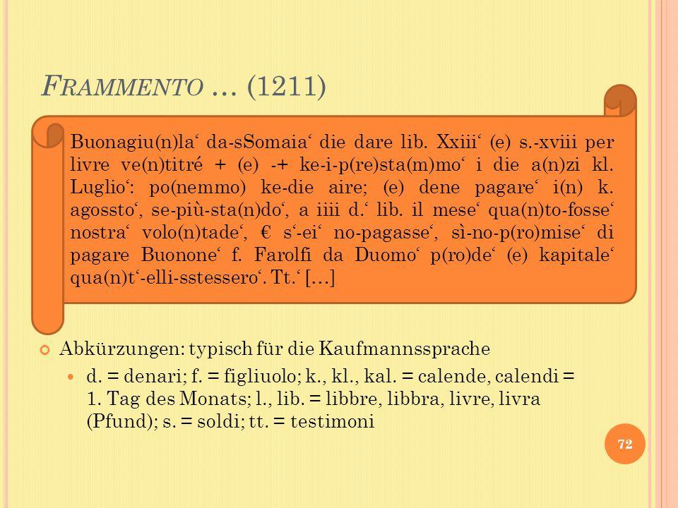 F RAMMENTO … (1211) 72 Abkürzungen: typisch für die Kaufmannssprache d. = denari; f. = figliuolo; k., kl., kal. = calende, calendi = 1. Tag des Monats
