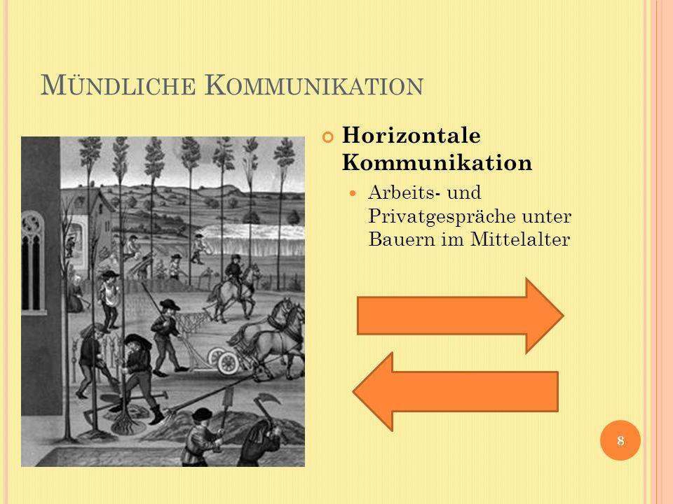 M ÜNDLICHE K OMMUNIKATION 8 Horizontale Kommunikation Arbeits- und Privatgespräche unter Bauern im Mittelalter