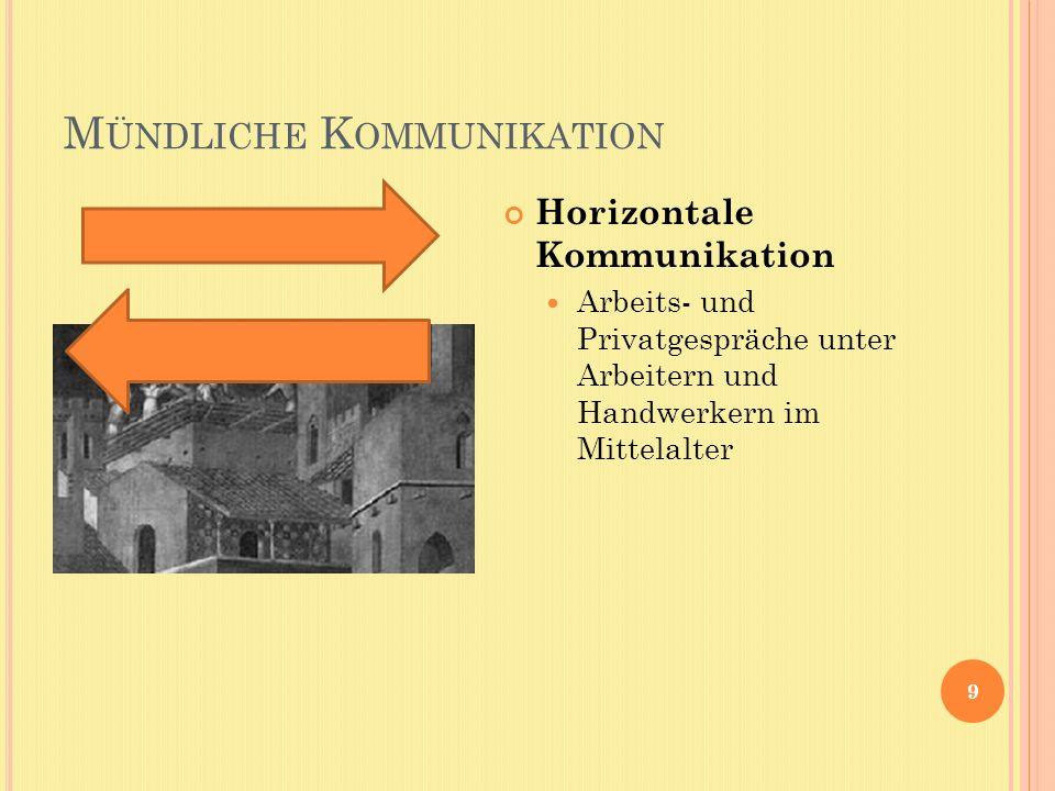 M ÜNDLICHE K OMMUNIKATION 9 Horizontale Kommunikation Arbeits- und Privatgespräche unter Arbeitern und Handwerkern im Mittelalter