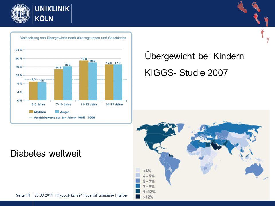 29.09.2011   Hypoglykämie/ Hyperbilirubinämie   KribsSeite 44 Übergewicht bei Kindern KIGGS- Studie 2007 Diabetes weltweit