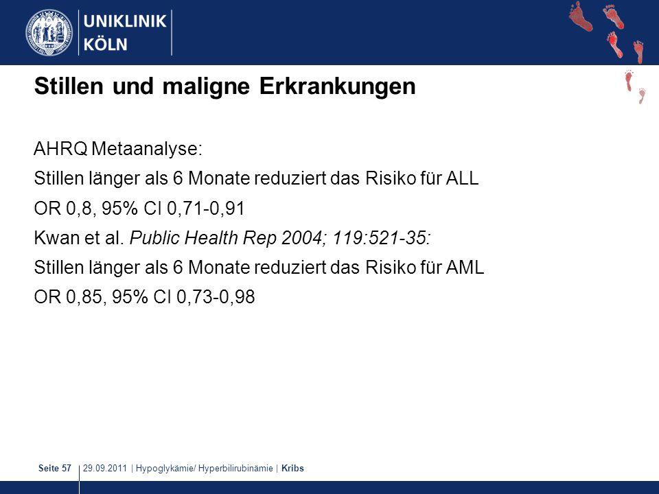 29.09.2011   Hypoglykämie/ Hyperbilirubinämie   KribsSeite 57 Stillen und maligne Erkrankungen AHRQ Metaanalyse: Stillen länger als 6 Monate reduziert