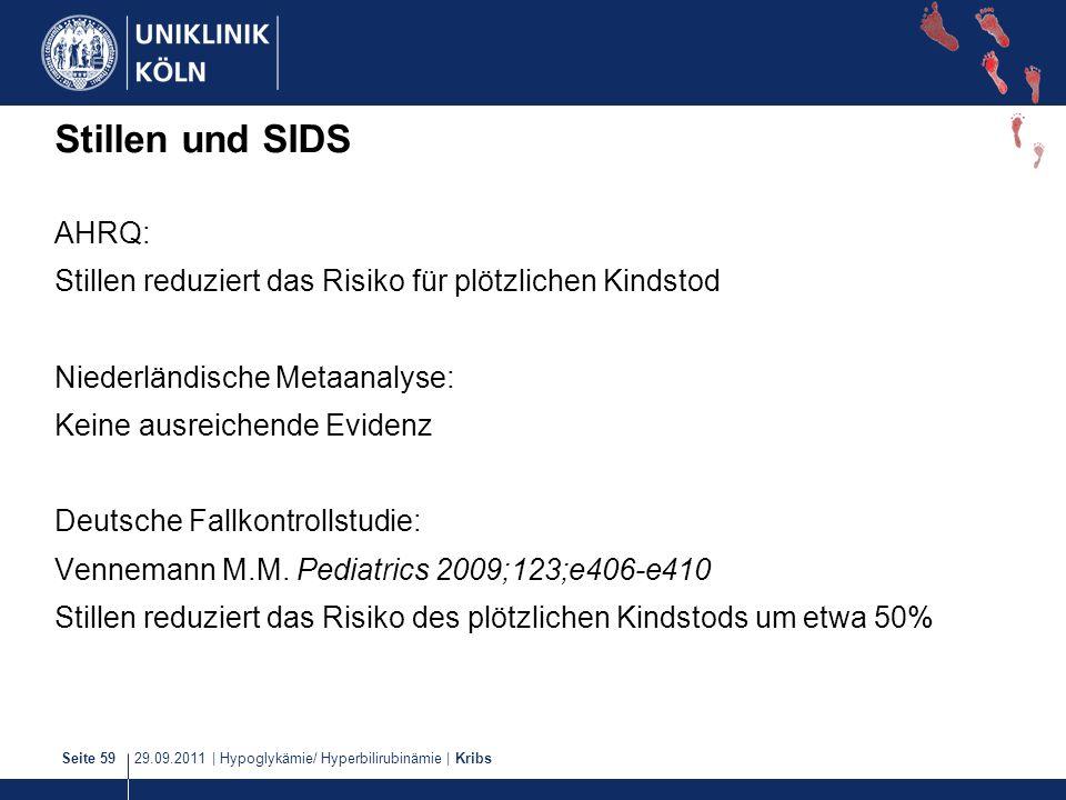 29.09.2011   Hypoglykämie/ Hyperbilirubinämie   KribsSeite 59 Stillen und SIDS AHRQ: Stillen reduziert das Risiko für plötzlichen Kindstod Niederländi