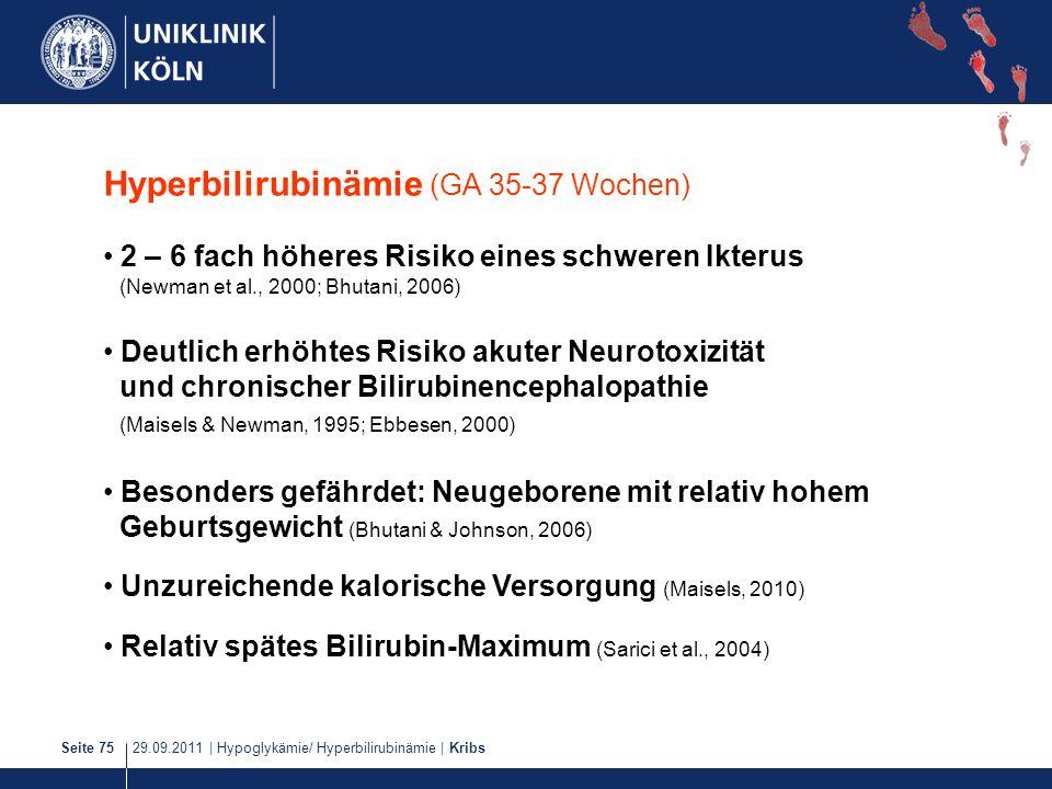 29.09.2011   Hypoglykämie/ Hyperbilirubinämie   KribsSeite 75 Hyperbilirubinämie (GA 35-37 Wochen) 2 – 6 fach höheres Risiko eines schweren Ikterus (N
