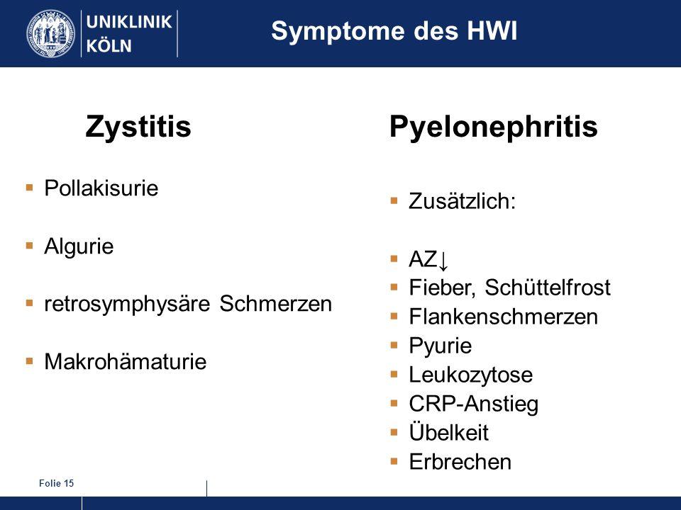 Folie 15 Zystitis Pollakisurie Algurie retrosymphysäre Schmerzen Makrohämaturie Symptome des HWI Zusätzlich: AZ Fieber, Schüttelfrost Flankenschmerzen
