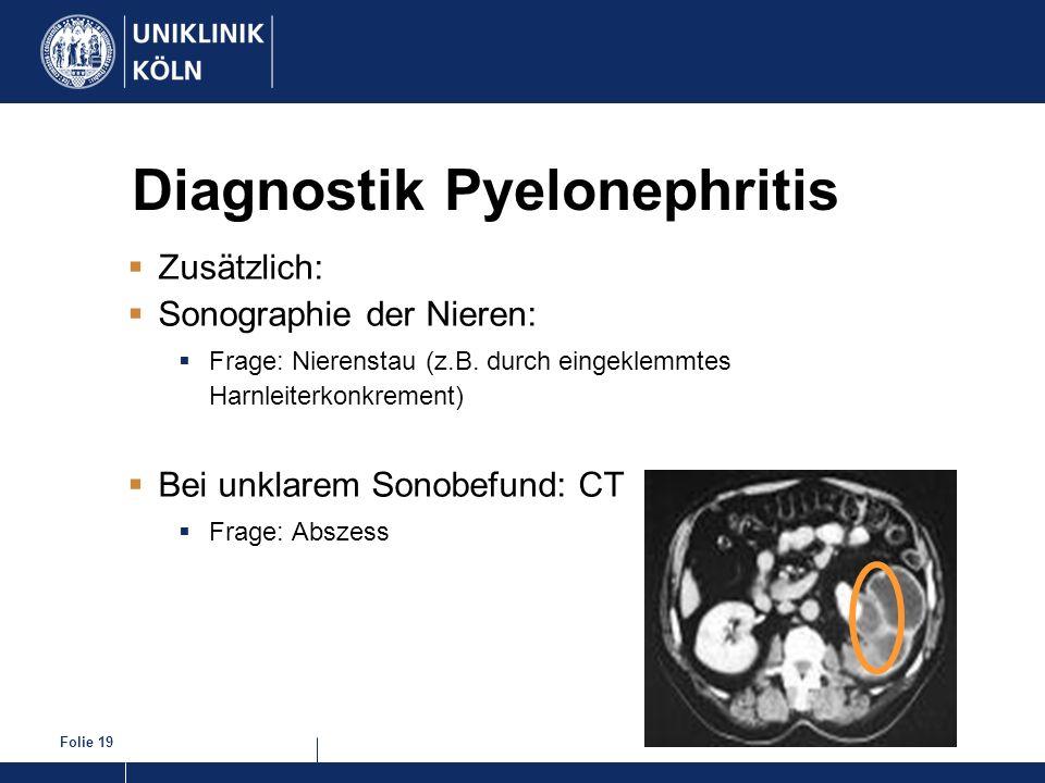 Folie 19 Diagnostik Pyelonephritis Zusätzlich: Sonographie der Nieren: Frage: Nierenstau (z.B. durch eingeklemmtes Harnleiterkonkrement) Bei unklarem