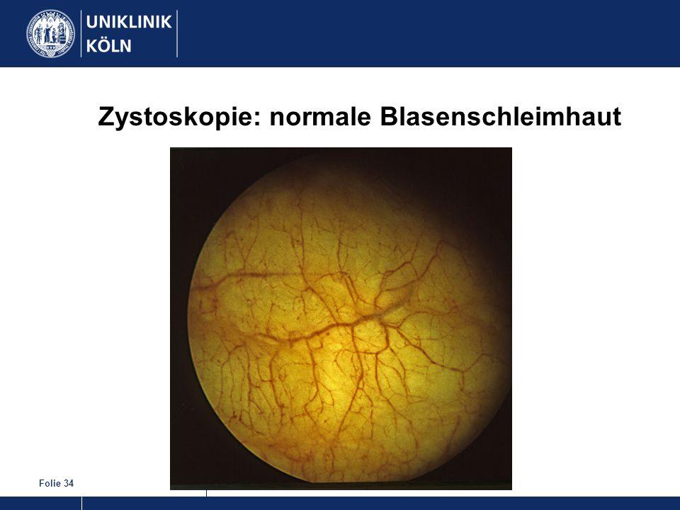 Folie 34 Zystoskopie: normale Blasenschleimhaut