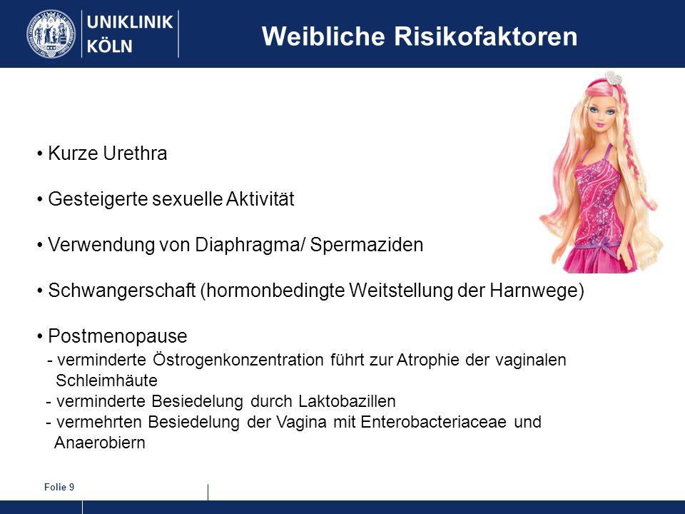 Folie 9 Weibliche Risikofaktoren Kurze Urethra Gesteigerte sexuelle Aktivität Verwendung von Diaphragma/ Spermaziden Schwangerschaft (hormonbedingte W