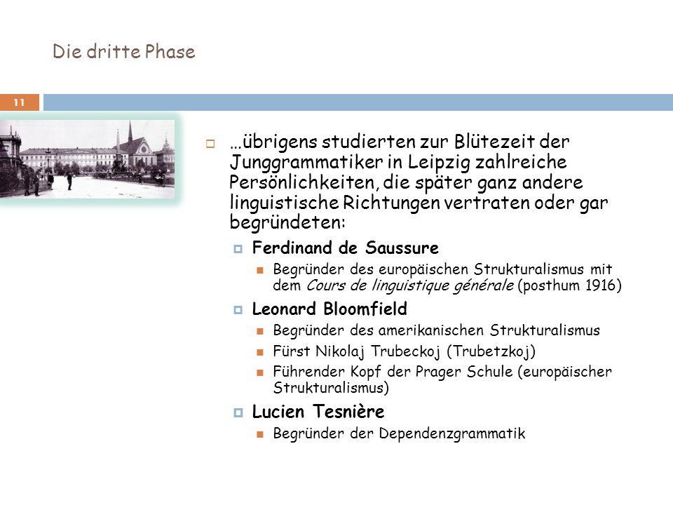 Die dritte Phase 11 …übrigens studierten zur Blütezeit der Junggrammatiker in Leipzig zahlreiche Persönlichkeiten, die später ganz andere linguistisch