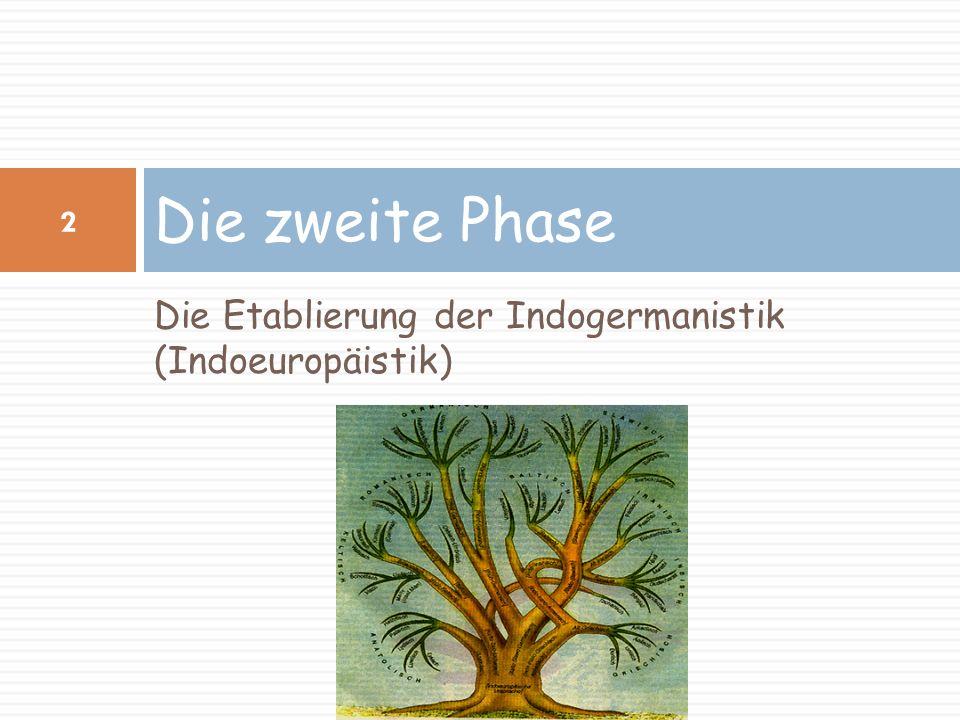 3 August Schleicher (1821-1868) Compendium der vergleichenden Grammatik der indogermanischen Sprachen (1861) Er war Begründer der Stammbaumtheorie in der vergleichenden Sprachforschung und zusammen mit Franz Bopp einer der Wegbereiter der Indogermanistik.