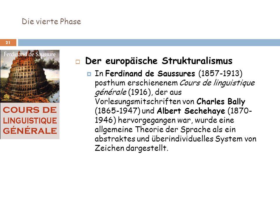 Die vierte Phase 21 Der europäische Strukturalismus In Ferdinand de Saussures (1857-1913) posthum erschienenem Cours de linguistique générale (1916),