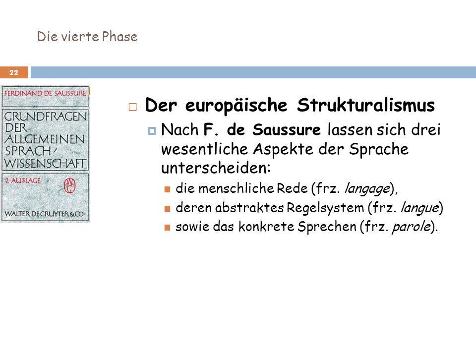 Die vierte Phase 22 Der europäische Strukturalismus Nach F. de Saussure lassen sich drei wesentliche Aspekte der Sprache unterscheiden: die menschlich