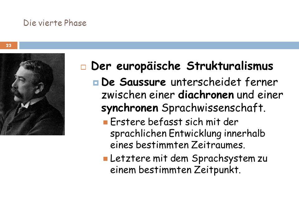 Die vierte Phase 23 Der europäische Strukturalismus De Saussure unterscheidet ferner zwischen einer diachronen und einer synchronen Sprachwissenschaft