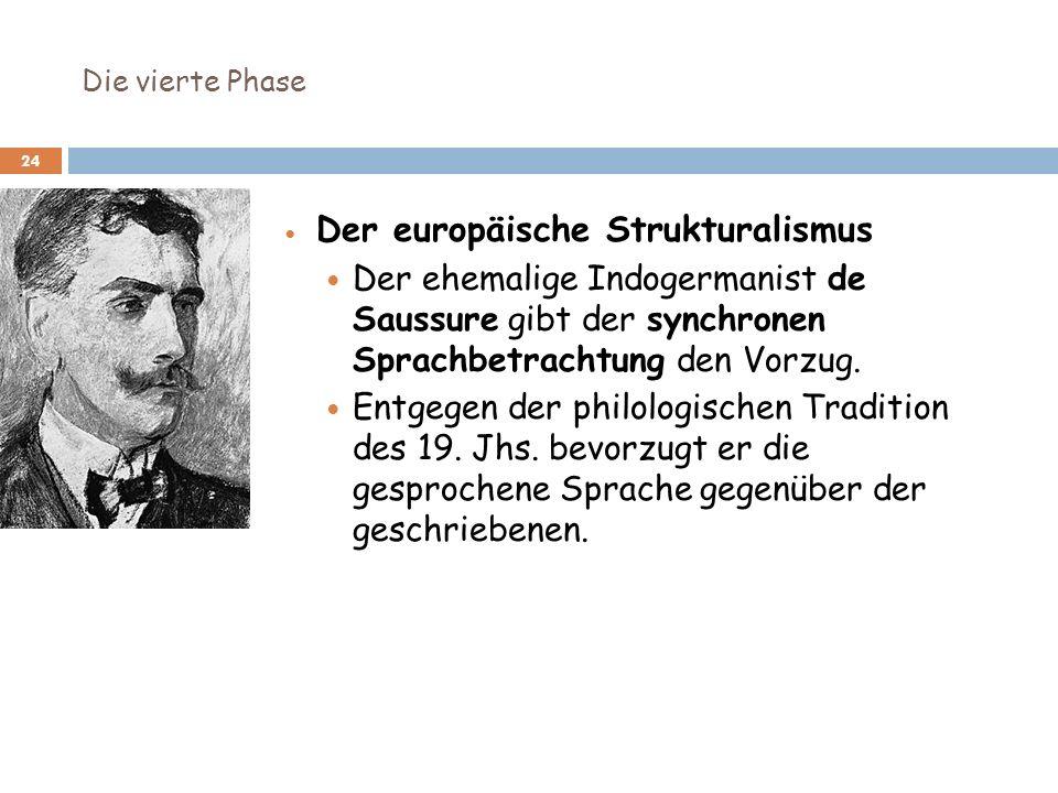Die vierte Phase 24 Der europäische Strukturalismus Der ehemalige Indogermanist de Saussure gibt der synchronen Sprachbetrachtung den Vorzug. Entgegen