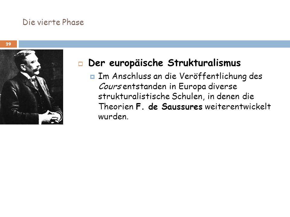 Die vierte Phase 29 Der europäische Strukturalismus Im Anschluss an die Veröffentlichung des Cours entstanden in Europa diverse strukturalistische Sch