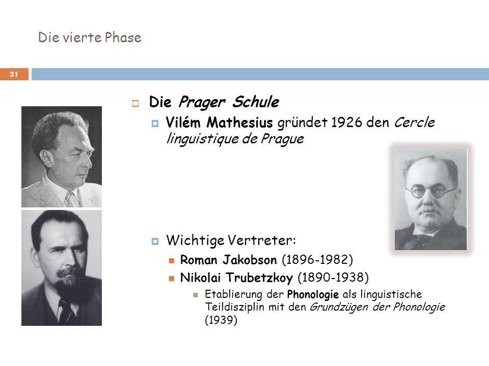 Die vierte Phase 31 Die Prager Schule Vilém Mathesius gründet 1926 den Cercle linguistique de Prague Wichtige Vertreter: Roman Jakobson (1896-1982) Ni