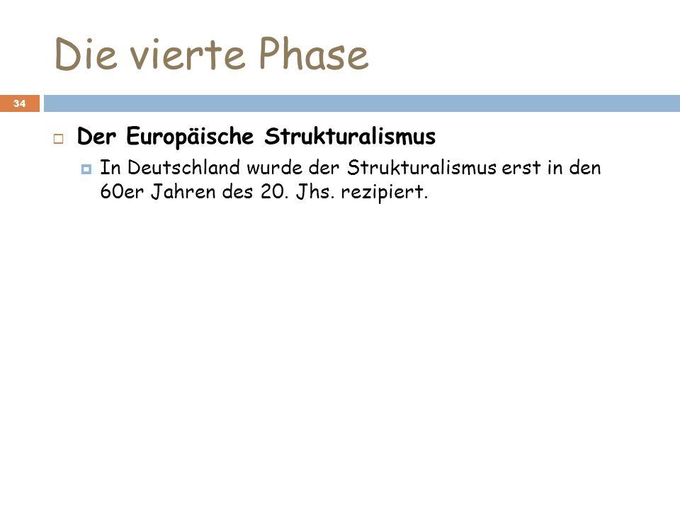 Die vierte Phase 34 Der Europäische Strukturalismus In Deutschland wurde der Strukturalismus erst in den 60er Jahren des 20. Jhs. rezipiert.