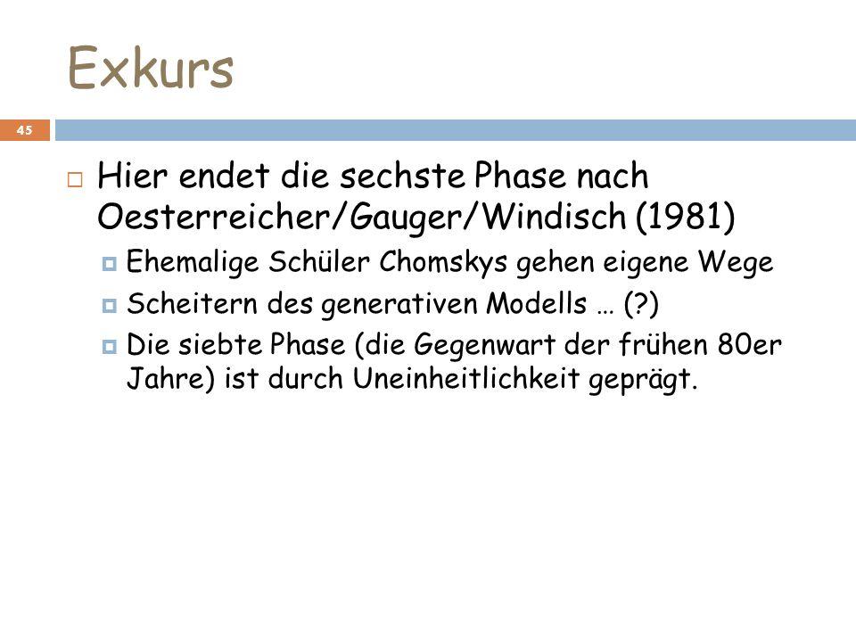 Exkurs 45 Hier endet die sechste Phase nach Oesterreicher/Gauger/Windisch (1981) Ehemalige Schüler Chomskys gehen eigene Wege Scheitern des generative