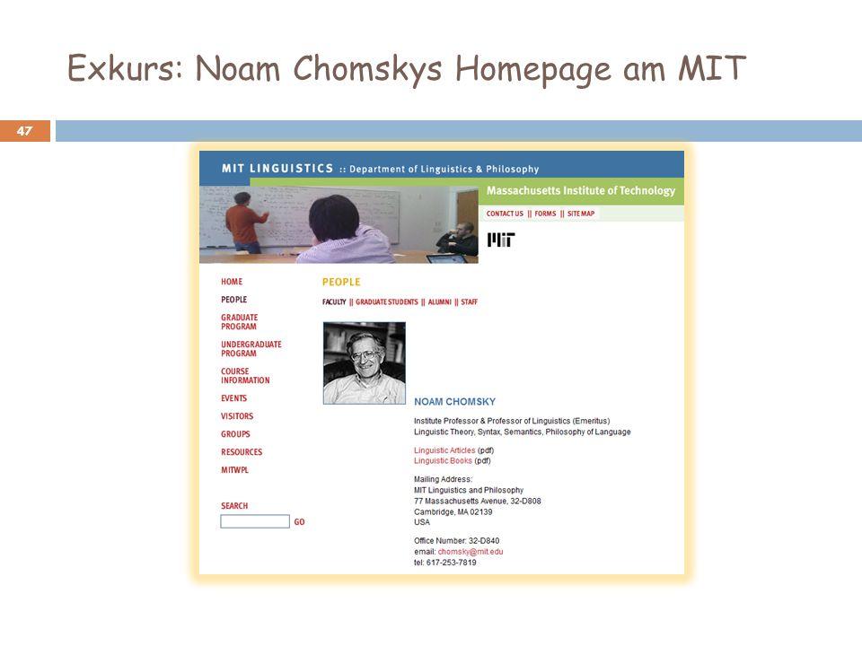 Exkurs: Noam Chomskys Homepage am MIT 47