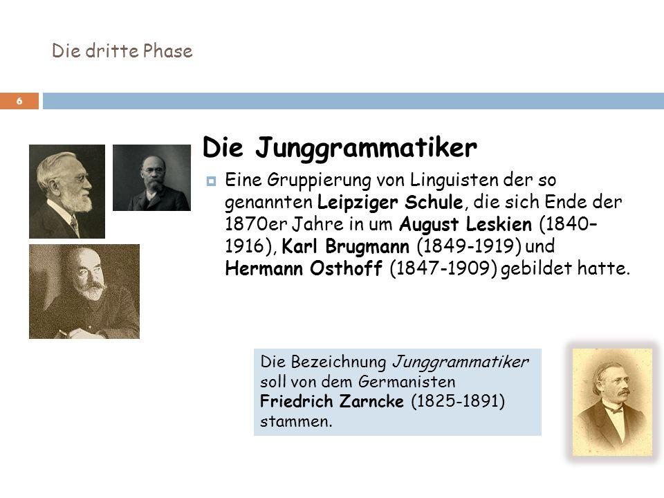 6 Die Junggrammatiker Eine Gruppierung von Linguisten der so genannten Leipziger Schule, die sich Ende der 1870er Jahre in um August Leskien (1840– 19