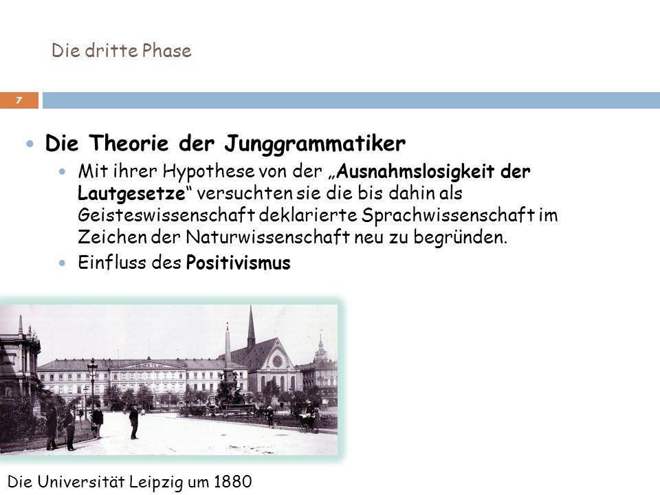 Die dritte Phase 7 Die Theorie der Junggrammatiker Mit ihrer Hypothese von der Ausnahmslosigkeit der Lautgesetze versuchten sie die bis dahin als Geis