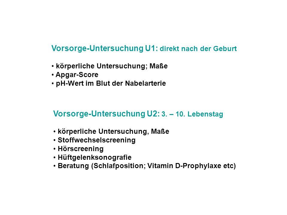Vorsorge-Untersuchung U1: direkt nach der Geburt körperliche Untersuchung; Maße Apgar-Score pH-Wert im Blut der Nabelarterie Vorsorge-Untersuchung U2: