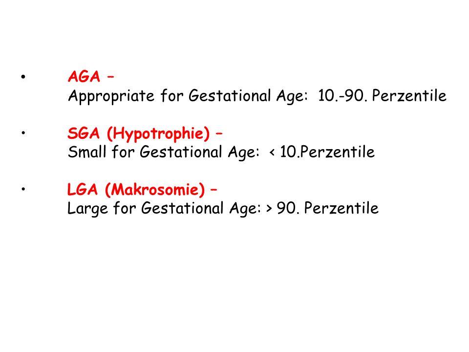 AGA – Appropriate for Gestational Age: 10.-90. Perzentile SGA (Hypotrophie) – Small for Gestational Age: < 10.Perzentile LGA (Makrosomie) – Large for