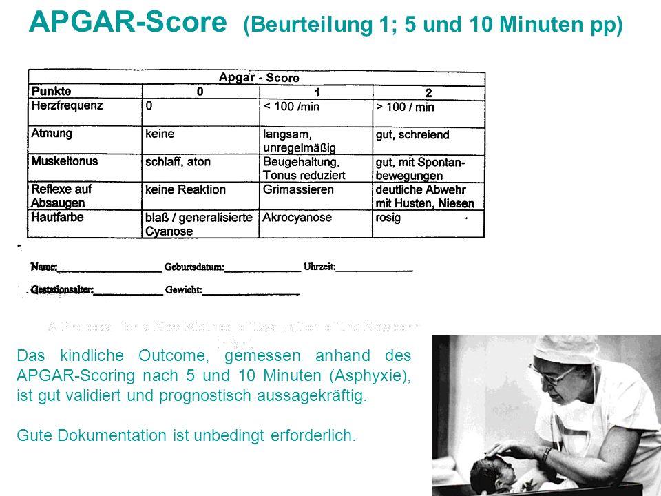 APGAR-Score (Beurteilung 1; 5 und 10 Minuten pp) Das kindliche Outcome, gemessen anhand des APGAR-Scoring nach 5 und 10 Minuten (Asphyxie), ist gut va