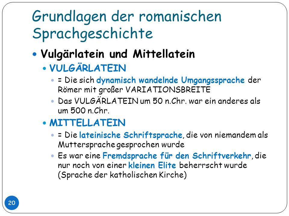 Grundlagen der romanischen Sprachgeschichte 20 Vulgärlatein und Mittellatein VULGÄRLATEIN = Die sich dynamisch wandelnde Umgangssprache der Römer mit