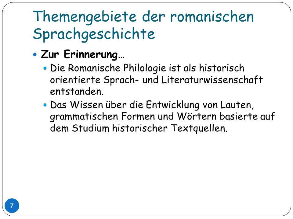 Themengebiete der romanischen Sprachgeschichte Zur Erinnerung… Die Romanische Philologie ist als historisch orientierte Sprach- und Literaturwissensch