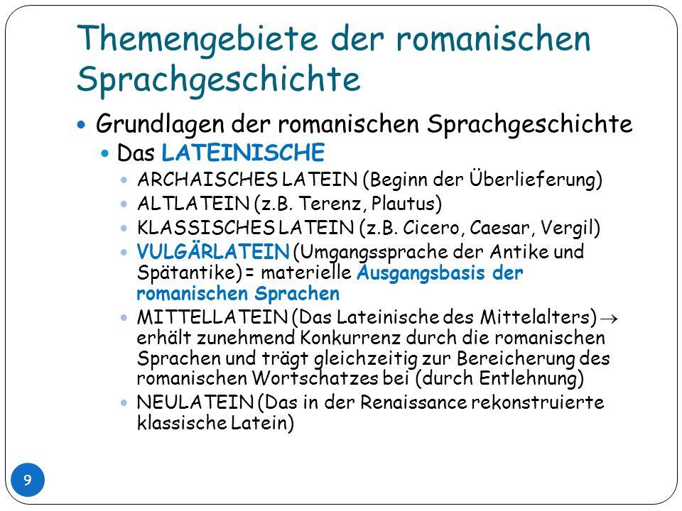 Themengebiete der romanischen Sprachgeschichte Grundlagen der romanischen Sprachgeschichte Das LATEINISCHE ARCHAISCHES LATEIN (Beginn der Überlieferun