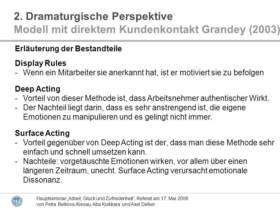 Hauptseminar Arbeit, Glück und Zufriedenheit, Referat am 17. Mai 2008 von Petra Belkova-Kiesau, Aba Koikkara und Axel Delker 2. Dramaturgische Perspek