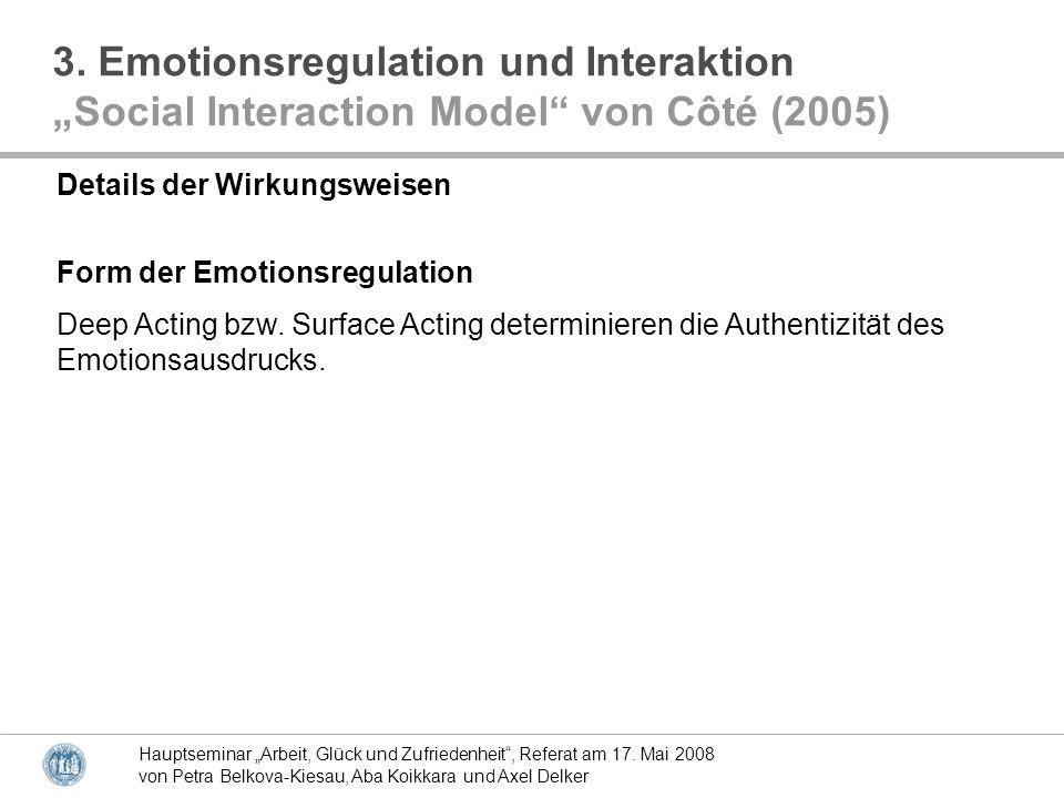 Hauptseminar Arbeit, Glück und Zufriedenheit, Referat am 17. Mai 2008 von Petra Belkova-Kiesau, Aba Koikkara und Axel Delker Details der Wirkungsweise