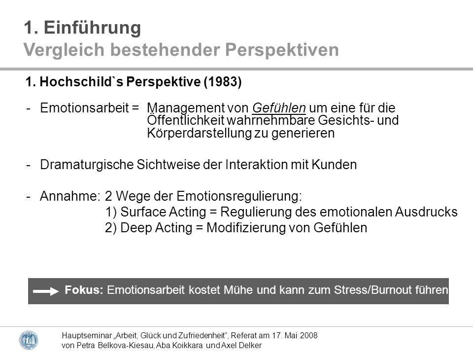 Hauptseminar Arbeit, Glück und Zufriedenheit, Referat am 17. Mai 2008 von Petra Belkova-Kiesau, Aba Koikkara und Axel Delker -Emotionsarbeit = Managem