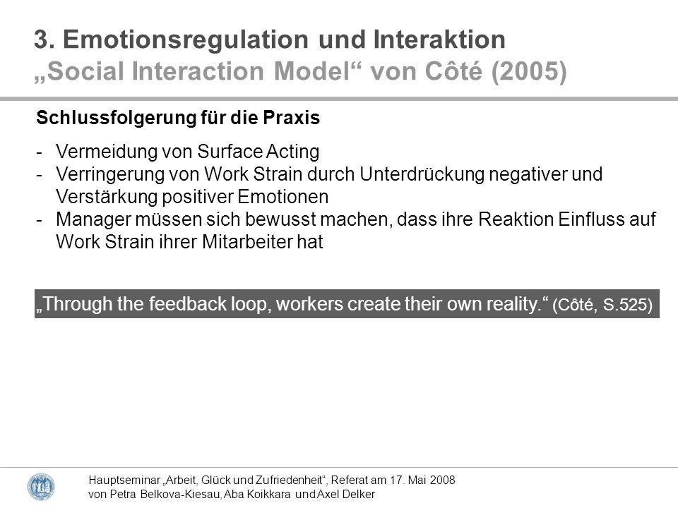 Hauptseminar Arbeit, Glück und Zufriedenheit, Referat am 17. Mai 2008 von Petra Belkova-Kiesau, Aba Koikkara und Axel Delker Schlussfolgerung für die
