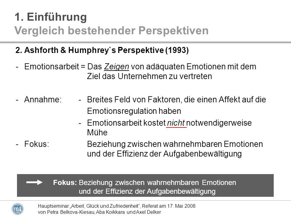 Hauptseminar Arbeit, Glück und Zufriedenheit, Referat am 17.