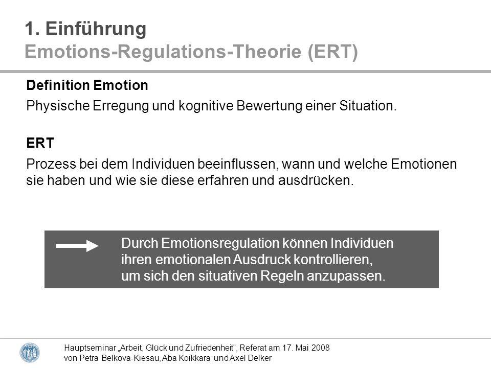 Hauptseminar Arbeit, Glück und Zufriedenheit, Referat am 17. Mai 2008 von Petra Belkova-Kiesau, Aba Koikkara und Axel Delker Durch Emotionsregulation